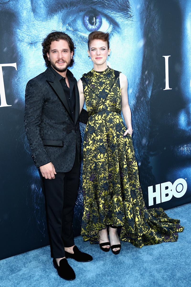 Kit Harington and Rose Leslie at the premiere of Game of Thrones season seven in Los Angeles, California, July 2017.