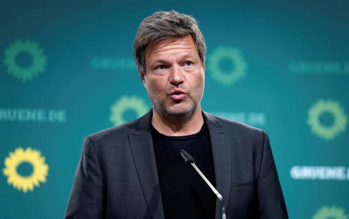 FILE PHOTO: Robert Habeck, co-chairman of the German Greens Party, addresses the media during a news conference in Berlin