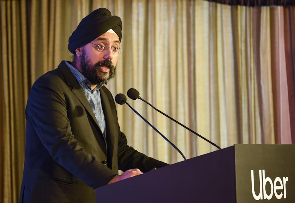 Prabhjeet Singh, head of cities for Uber India and South Asia, speaks during the launch event of the Uber Boat service in Mumbai on January 30, 2019. - App-based ride-hailing technology platform Uber announced a pilot run in India for the start of its second boat service in the world after Croatia. (Photo by Indranil MUKHERJEE / AFP) (Photo credit should read INDRANIL MUKHERJEE/AFP via Getty Images)