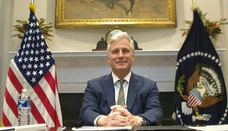 This image made from a teleconference provided by the Vietnam News Agency (VNA) shows U.S. national security adviser Robert O'Brien during a virtual summit with leaders of the Association of Southeast Asian Nations (ASEAN) on Saturday, Nov. 14, 2020. U.S. President Donald Trump skipped a virtual summit with his Southeast Asian counterparts on Saturday, the third year in a row that the U.S. is being represented at a lower level. (VNA via AP)