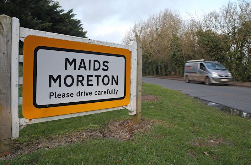 A sign for Maids Moreton, near Buckingham, Buckinghamshire, after police launched a murder investigation into the deaths of two elderly residents, Peter Farquhar and Ann Moore-Martin, of the village who died more than a year-and-a-half apart. (Photo by Steve Parsons/PA Images via Getty Images)