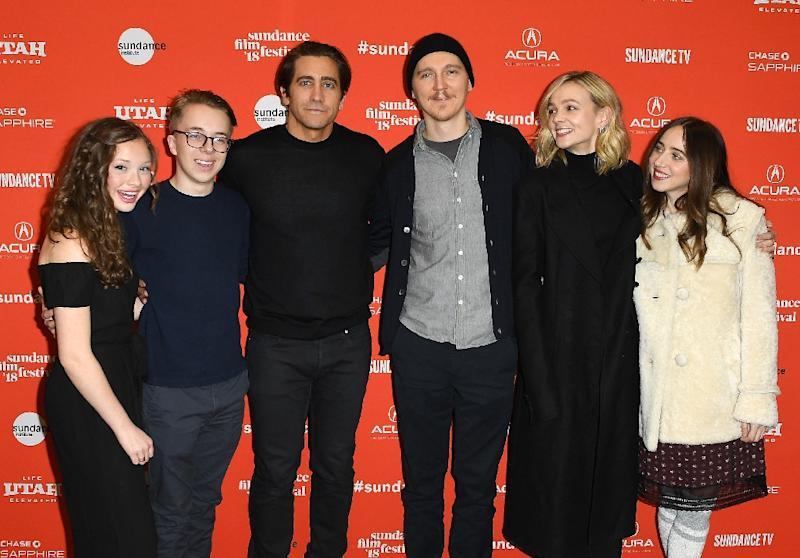 Zoe Colette, Ed Oxenbould, Jake Gyllenhaal, Paul Dano, Carey Mulligan and Zoe Kazan attend the 'Wildlife' Premiere during the 2018 Sundance Film Festival in Park City, Utah (AFP Photo/ANGELA WEISS)