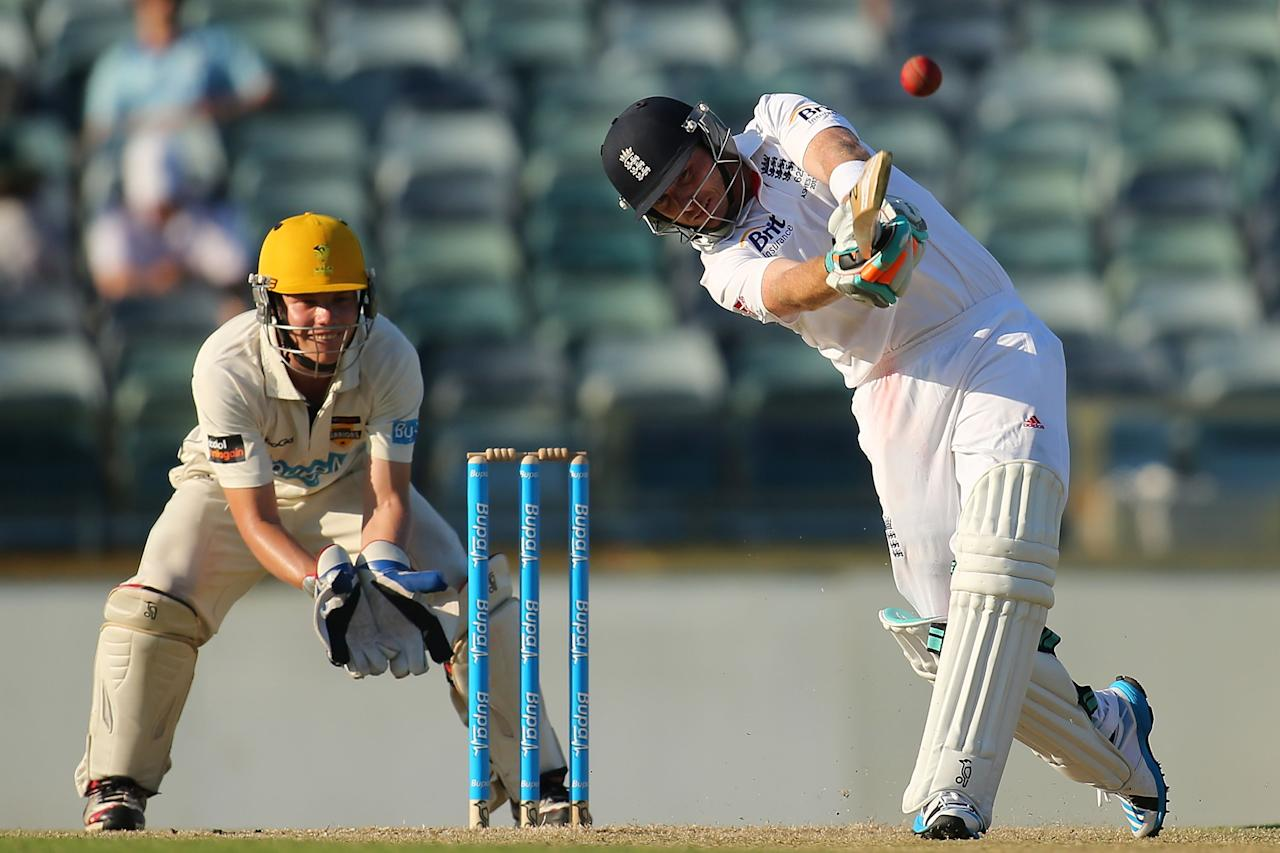 PERTH, AUSTRALIA - NOVEMBER 01:  Ian Bell of England hits a six during day two of the Tour match between the WA Chairman's XI and England at WACA on November 1, 2013 in Perth, Australia.  (Photo by Paul Kane/Getty Images)