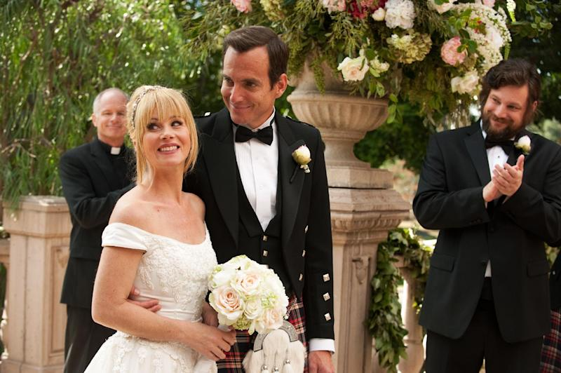 """This undated publicity photo released by NBC shows Christina Applegate, left, as Reagan Brinkley and Will Arnett, as Chris Brinkley, in the TV series, """"Up All Night,"""" Season 2, """"The Wedding,"""" Episode 211. Applegate says she's bowing out of NBC's """"Up All Night."""" In a statement Friday, the actress said the show has taken a """"different creative direction"""" and she's decided to move on to other projects. She called the sitcom a great experience and said she will miss her co-workers. (AP Photo/NBC, Colleen Hayes)"""