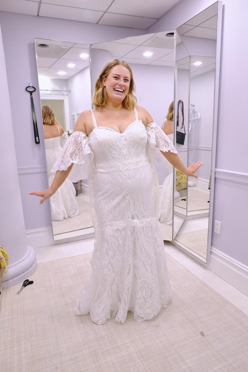 Stegemoller in her wedding dress on Say Yes to the Dress: America