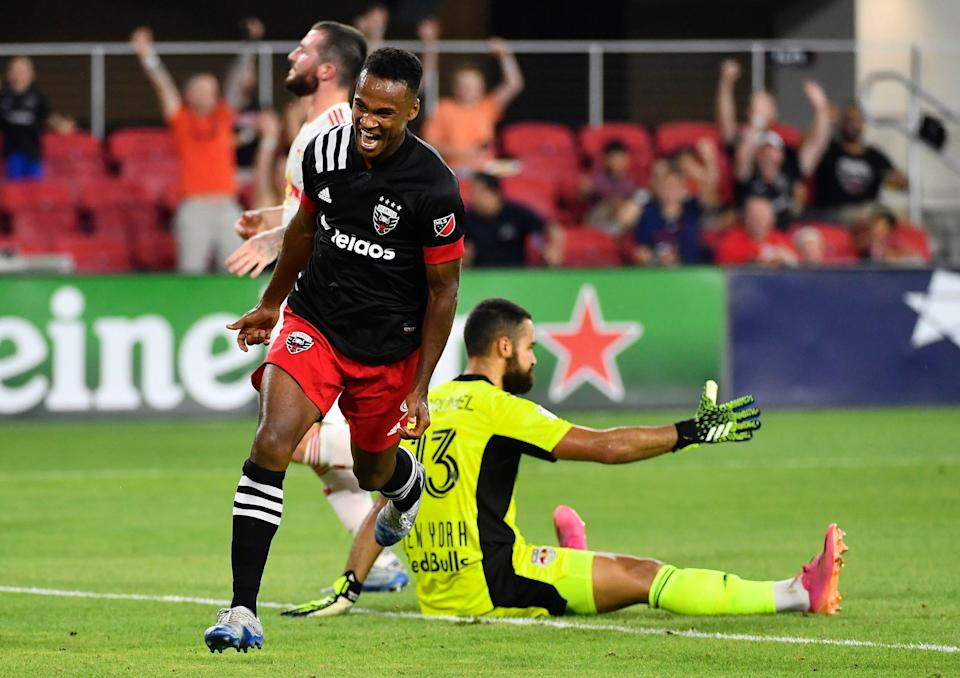 Ola Kamara reacts after scoring a goal against the New York Red Bulls at Audi Field.