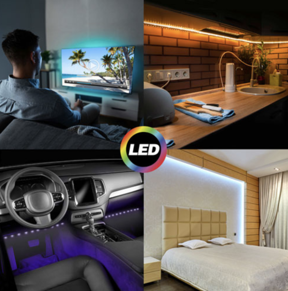 smart led light strips on inside of car, surrounding bed, underneath kitchen cabinets and around computer