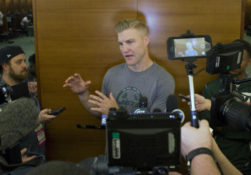 New York Jets quarterback Josh McCown talks to the media at the NFL football team's training camp Tuesday, June 12, 2018, in Florham Park, N.J. (AP Photo/Mark Lennihan)
