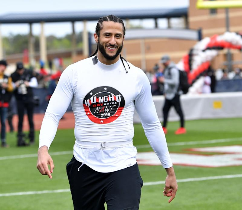 A Saturday workout on short notice presents problems for Colin Kaepernick, but he's publicly focused on the opportunity at hand. (Prince Williams/Wireimage/Getty)