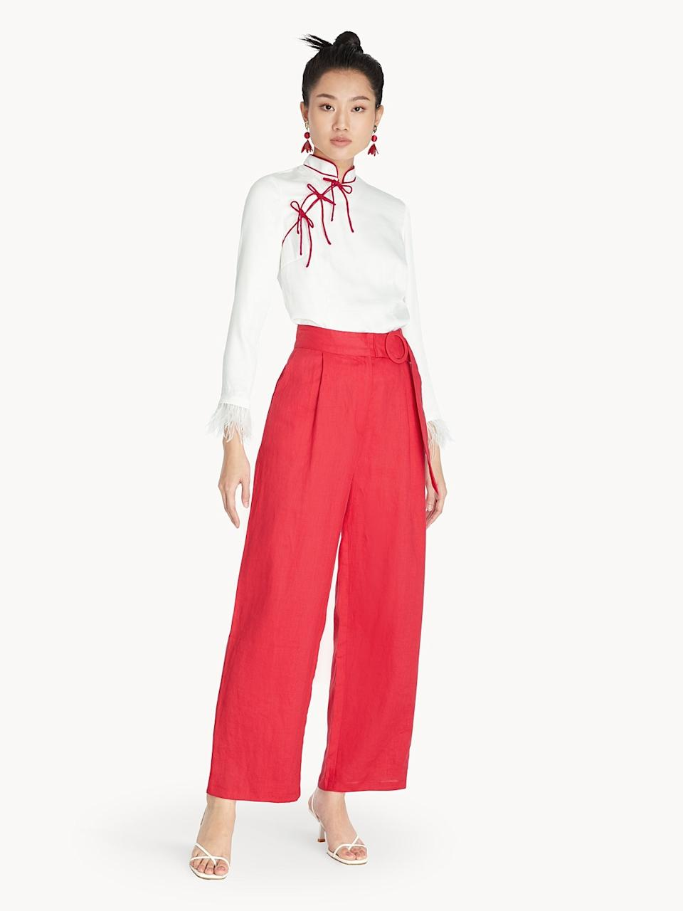Belted Wide Leg Pants - Red