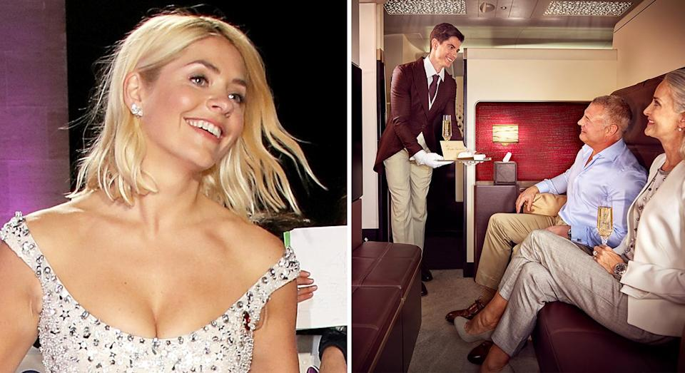 Holly Willoughby flew back in a lavish plane suite complete with an inflight butler service. [Photo: Getty]