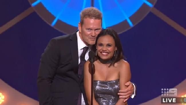 Craig McLachlan and Miranda Tapsell's awkward moment on stage. Photo: Youtube