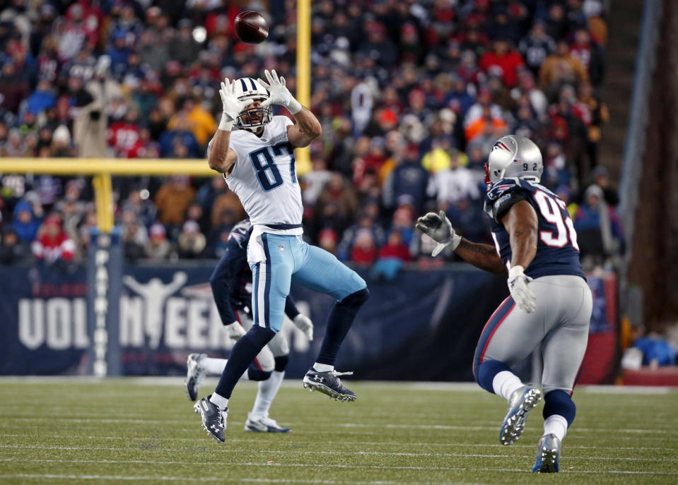 James Harrison zeroes in on Titans wide receiver Eric Decker in Saturday's victory for the Patriots. (AP)