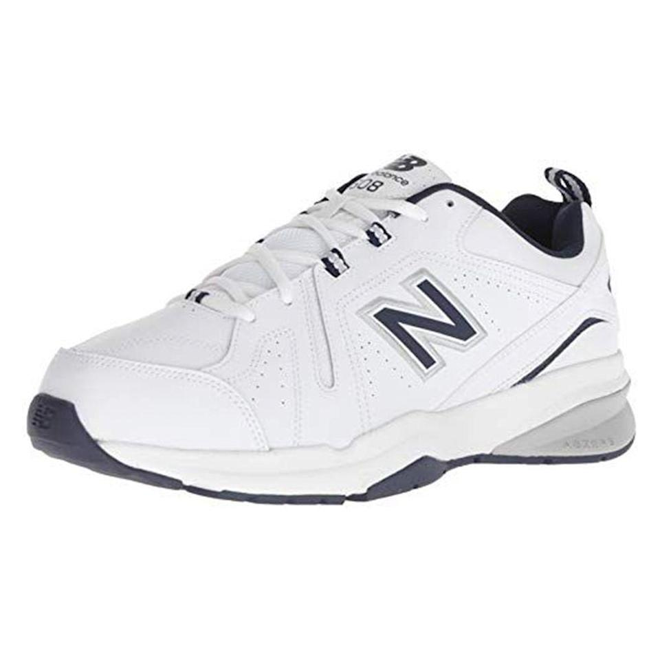 """<p><strong>New Balance</strong></p><p>amazon.com</p><p><strong>$50.35</strong></p><p><a href=""""https://www.amazon.com/dp/B07B41R492?tag=syn-yahoo-20&ascsubtag=%5Bartid%7C2139.g.33501651%5Bsrc%7Cyahoo-us"""" rel=""""nofollow noopener"""" target=""""_blank"""" data-ylk=""""slk:BUY IT HERE"""" class=""""link rapid-noclick-resp"""">BUY IT HERE</a></p><p>New Balance's 608 V5 sneakers might be the most iconic 'dad sneaker' out there. The podiatrist-approved sneakers not only work for everyday lifestyle pursuits, but for cross training as well, making them one of the most versatile picks on this list. Take it from the 11,000+ people who've felt compelled to leave glowing reviews, they're a smart buy.</p>"""