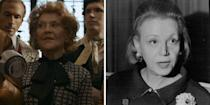 """<p>You may know Kelly Bishop best as Rory Gilmore's grandmother, Emily, in <em>Gilmore Girls,</em> but in <em>Halston</em><em>,</em> she's the influential publicist <a href=""""https://graziamagazine.com/us/articles/eleanor-lambert-netflix-halston/"""" rel=""""nofollow noopener"""" target=""""_blank"""" data-ylk=""""slk:Eleanor Lambert"""" class=""""link rapid-noclick-resp"""">Eleanor Lambert</a>, who is celebrated for championing American designers. In the limited series, she's seen encouraging Halston to represent the United States in the legendary Battle of Versailles against French designers like Yves Saint Laurent and Dior. </p>"""
