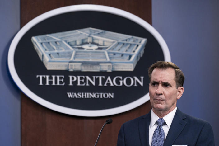 FILE - In this Wednesday, Feb. 17, 2021, file photo, Pentagon spokesman John Kirby speaks during a media briefing at the Pentagon, in Washington. Kirby announced late Thursday, Feb. 25, 2021, that the U.S. military conducted airstrikes against facilities in eastern Syria that the Pentagon said were used by Iran-backed militia groups, in response to recent attacks against U.S. personnel in Iraq. Kirby said the action was authorized by President Joe Biden. (AP Photo/Alex Brandon, File)