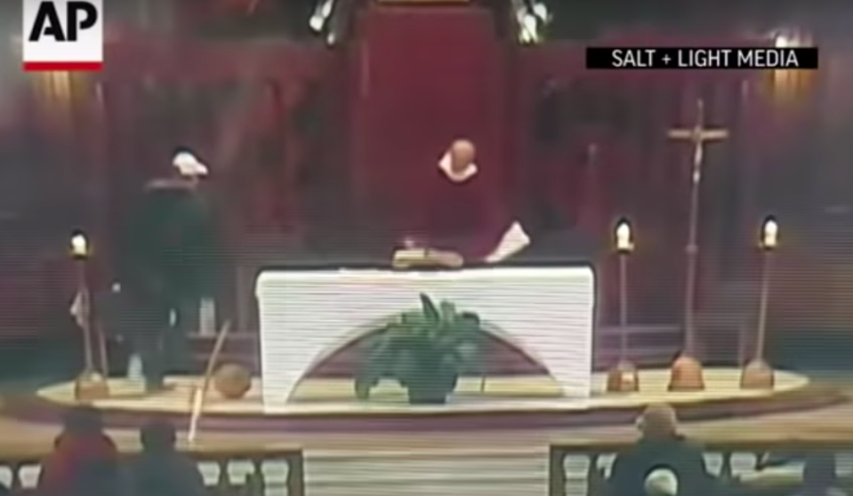 A priest was chased around he altar before he was stabbed. Source: AP