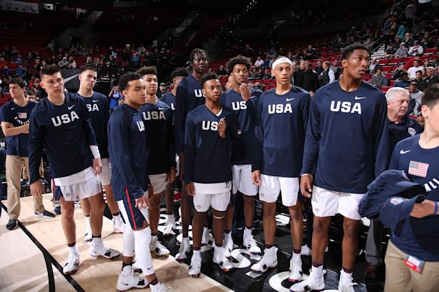 The 2018 USA Basketball Junior National Select Team lost to a collection of international talent at the Nike Hoop Summit in April. (Getty Images)