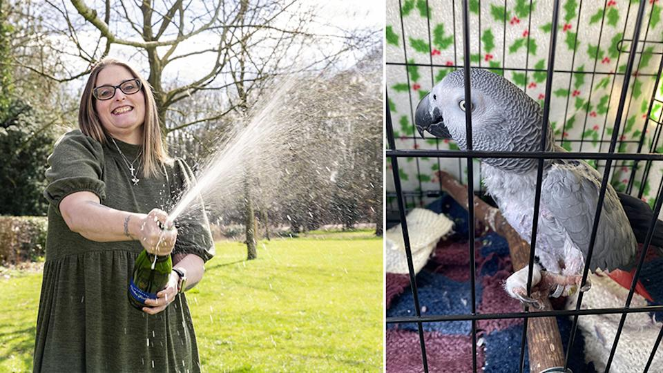Pictured on the left is Lesley Herbert popping a bottle of champagne and her pet parrot Bibi on the right, with her foot bandaged up.
