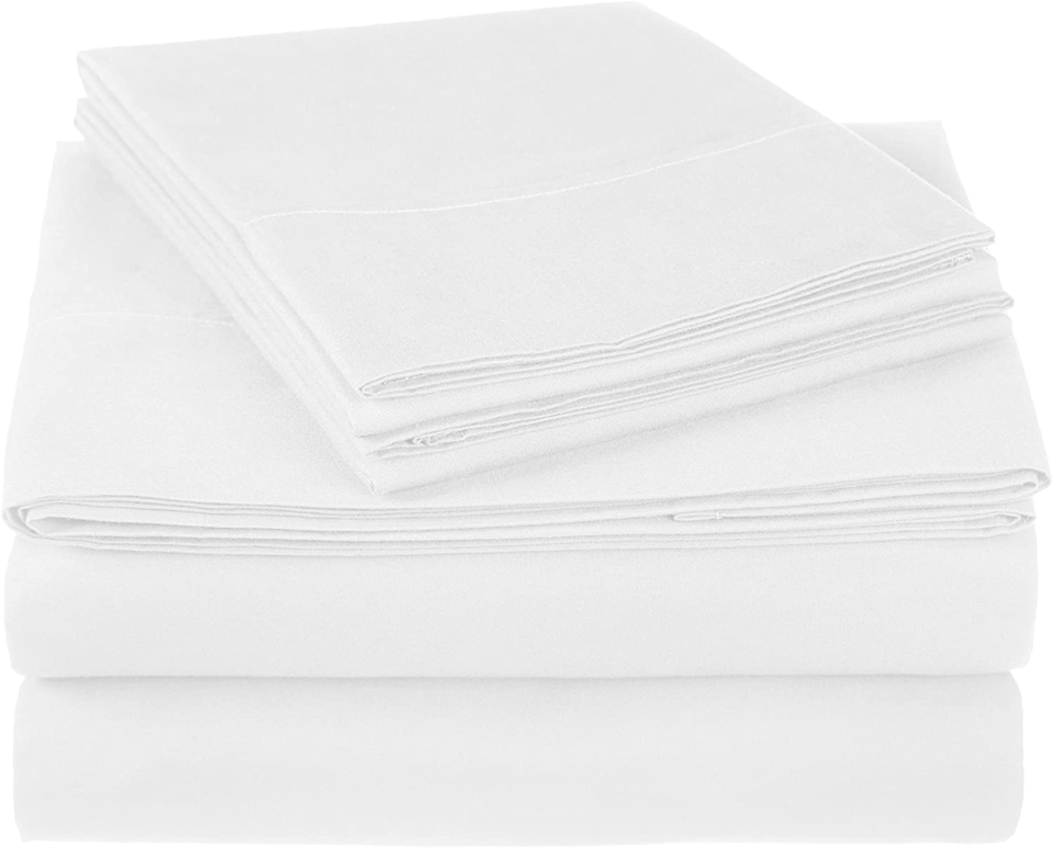 """Now I use it for literally everything."" <br> <br> <strong>Pinzon by Amazon</strong> 300 Thread Count Ultra Soft Cotton Bed Sheet Set, $, available at <a href=""https://www.amazon.com/Pinzon-Thread-Count-Ultra-Cotton/dp/B071LTRQHX/ref=sr_1_12?dchild=1&keywords=white+sheets&qid=1588095892&sr=8-12"" rel=""nofollow noopener"" target=""_blank"" data-ylk=""slk:Amazon"" class=""link rapid-noclick-resp"">Amazon</a>"