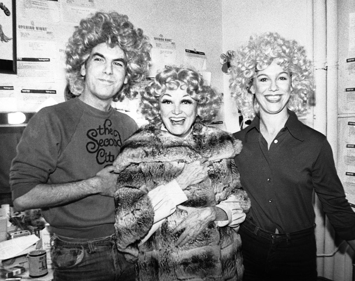 """Phyllis Diller clowns with mad-cap comedians John Monteith and Suzanne Rand backstage  January 1979 at the Booth Theatre in New York, where they are starring in their hit show, """"Monteith and Rand."""" The pair donned """"fright wigs"""" in honor of Miss Diller's visit. (AP Photo)"""