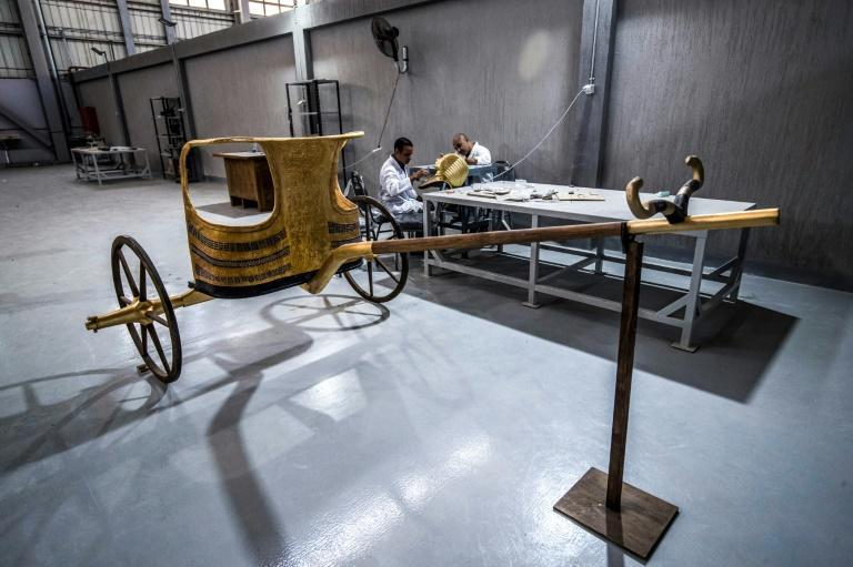 A replica of an Egyptian chariot, assembled at the Konouz factory in Cairo