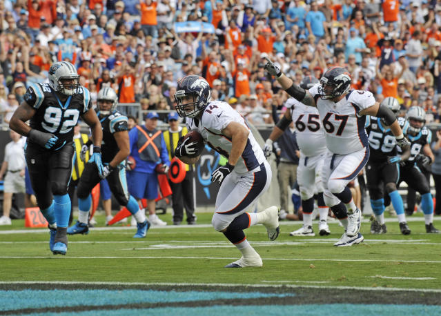 Denver Broncos' Brandon Stokley (14) runs into the end zone for a touchdown against the Carolina Panthers during the first quarter of an NFL football game in Charlotte, N.C., Sunday, Nov. 11, 2012. (AP Photo/Rainier Ehrhardt)