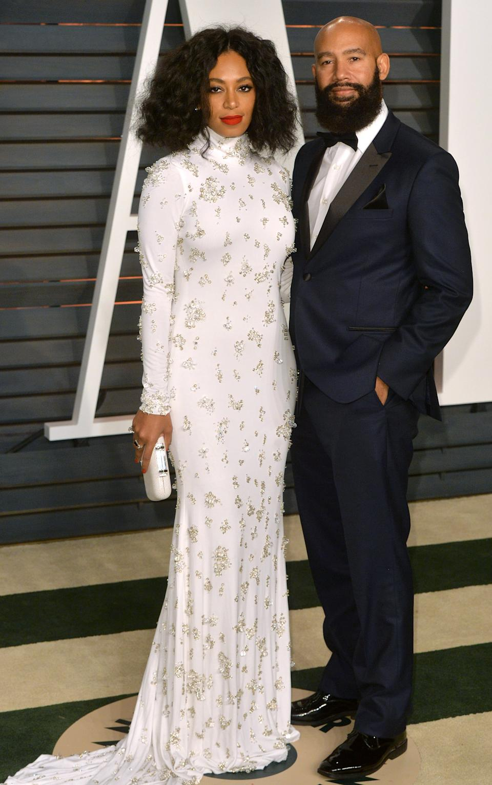BEVERLY HILLS, CA - FEBRUARY 22:  Solange Knowles and Alan Ferguson arrive at the 2015 Vanity Fair Oscar Party Hosted By Graydon Carter at Wallis Annenberg Center for the Performing Arts on February 22, 2015 in Beverly Hills, California.  (Photo by Anthony Harvey/Getty Images)