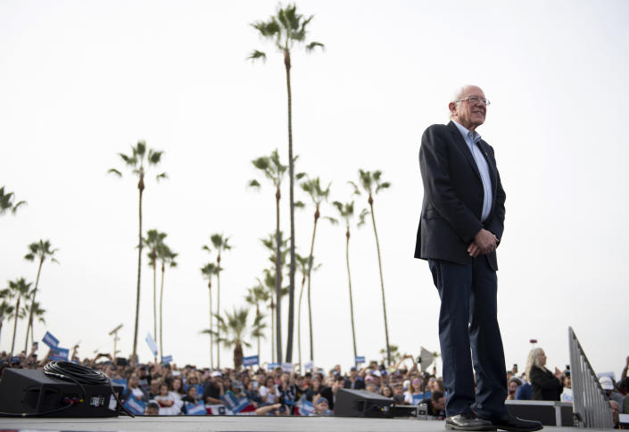 Democratic presidential candidate Sen. Bernie Sanders waits to speak at a rally in Venice, Calif., on Dec. 21. (AP Photo/Kelvin Kuo)