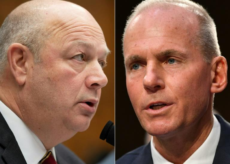 Federal Aviation Administration (FAA) Administrator Stephen Dickson (L) and ousted Boeing president and chief executive officer Dennis Muilenburg