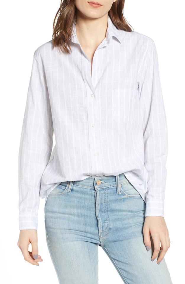 "<p><strong>GRAYSON</strong></p><p>nordstrom.com</p><p><strong>$138.00</strong></p><p><a rel=""nofollow"" href=""https://shop.nordstrom.com/s/grayson-the-hero-washed-cotton-shirt/5215307"">Shop Now</a></p>A washed cotton shirt patterned with subtle stripes serves as an effortlessly cool and casual go-to.""/"