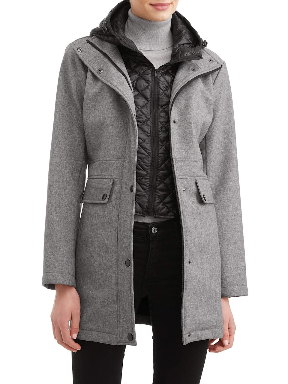 Women's Soft Shell A-Line with Quilted Cire Vestee & Hood (Photo: Walmart)