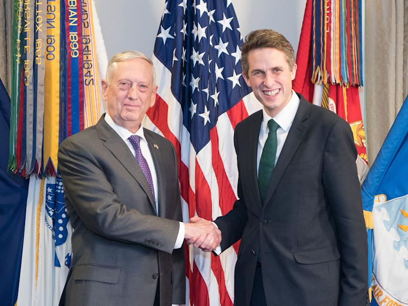 UK Defence Secretary Gavin Williamson, right, and his US counterpart Jim Mattis are at loggerheads over the future of two British Isis fighters captured in Syria: US Department of Defence