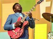 """This image released by Searchlight Pictures shows B.B. King at the Harlem Cultural Festival in 1969, featured in the documentary """"Summer of Soul."""" (Searchlight Pictures via AP)"""