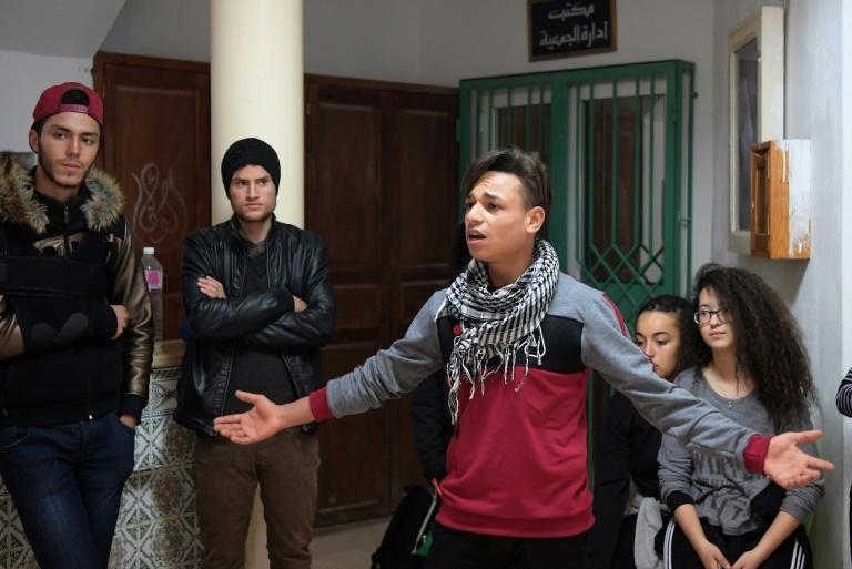 Tunisian youth rehearse at a community centre in Douar Hicher on the outskirts of Tunis