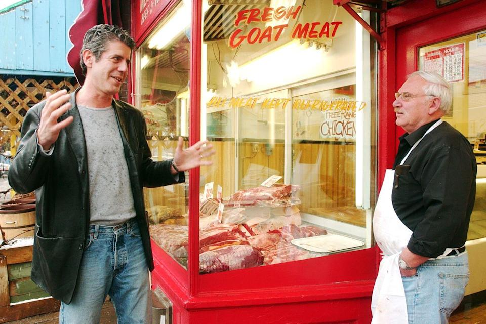 <p>Two years after the publication of <em>Kitchen Confidential</em>, Bourdain became host of the Food Network show <em>A Cook's Tour</em>, which aired from 2002 to 2003. Here, as part of the series, Bourdain meets Solly Stern, owner of Max & Son Meat Market, in Kensington Market, Toronto on April 2, 2002.</p>