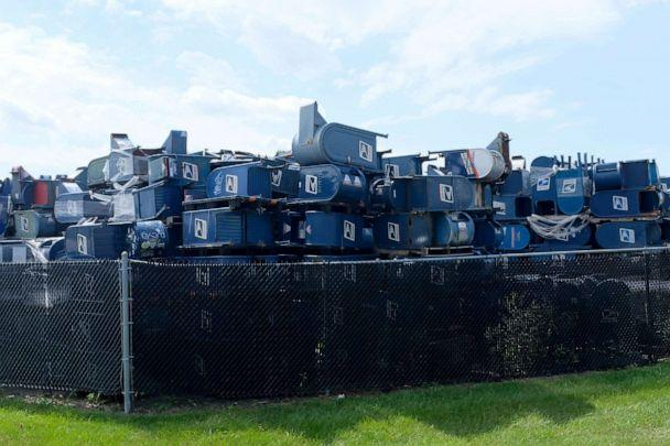 PHOTO: Mailboxes from across the country are stored outside of Hartford Finishing Inc. where they will be refurbished or repaired, Aug. 17, 2020, in Hartford, Wisconsin. (Alex Wroblewski/Getty Images)