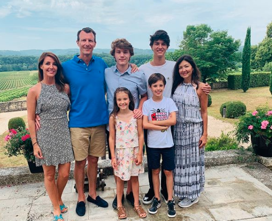Prince Joachim with his wife, Prince Marie, and his first wife, Alexandra, Countess of Frederiksborg and their children: Prince Nikolai, 20, Prince Felix, 18, Prince Henrik, 11, and Princess Athena, eight