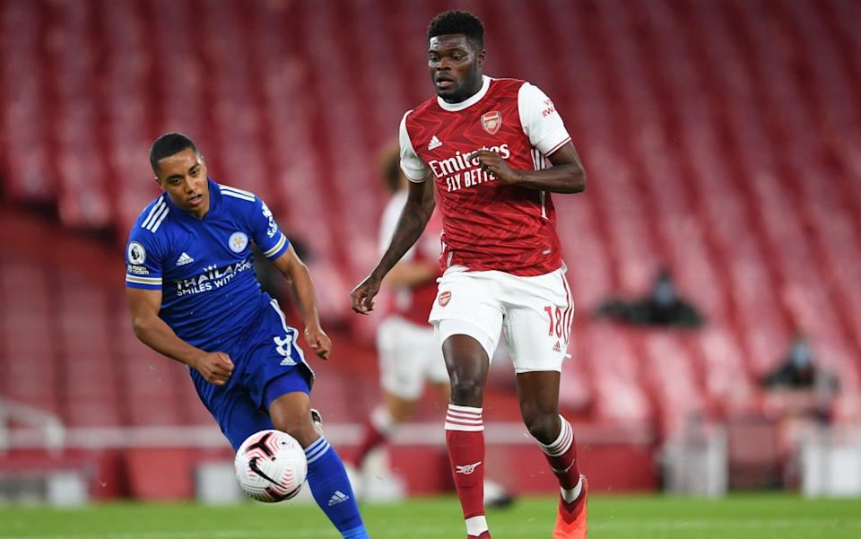 Thomas Partey of Arsenal takes on Youri Tielemans of Leicester during the Premier League match between Arsenal and Leicester City at Emirates Stadium on October 25, 2020 in London, England. - GETTY IMAGES