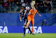 (L-R) Yuika Sugasawa of Japan Women, Stefanie van der Gragt of Holland Women during the World Cup Women match between Holland v Japan at the Stadion Roazhon Park on June 25, 2019 in Rennes France (Photo by Rico Brouwer/Soccrates/Getty Images)