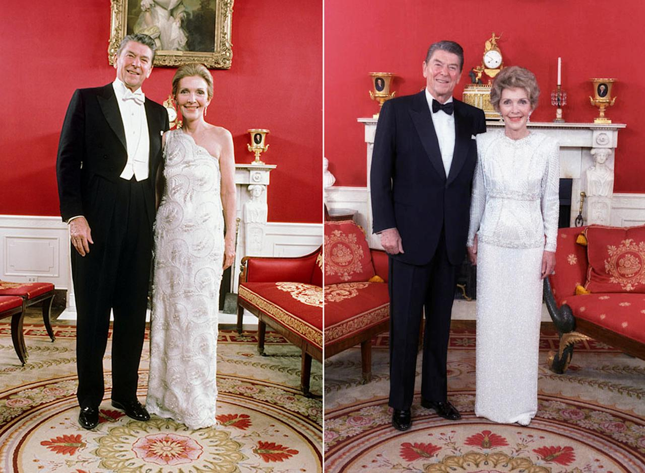 Ronald and Nancy Reagan pose in the White House red room before attending their inaugural balls in Washington, D.C., U.S. in 1981 (L) and 1985. Nancy Reagan wore John Galanos-designed gowns for both occasions.  Ronald Reagan Presidential Library/Handout via REUTERS  ATTENTION EDITORS - THIS IMAGE WAS PROVIDED BY A THIRD PARTY. EDITORIAL USE ONLY