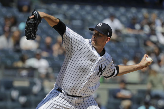 New York Yankees' James Paxton delivers a pitch during the first inning of a baseball game against the Baltimore Orioles in the first game of a doubleheader Monday, Aug. 12, 2019, in New York. (AP Photo/Frank Franklin II)