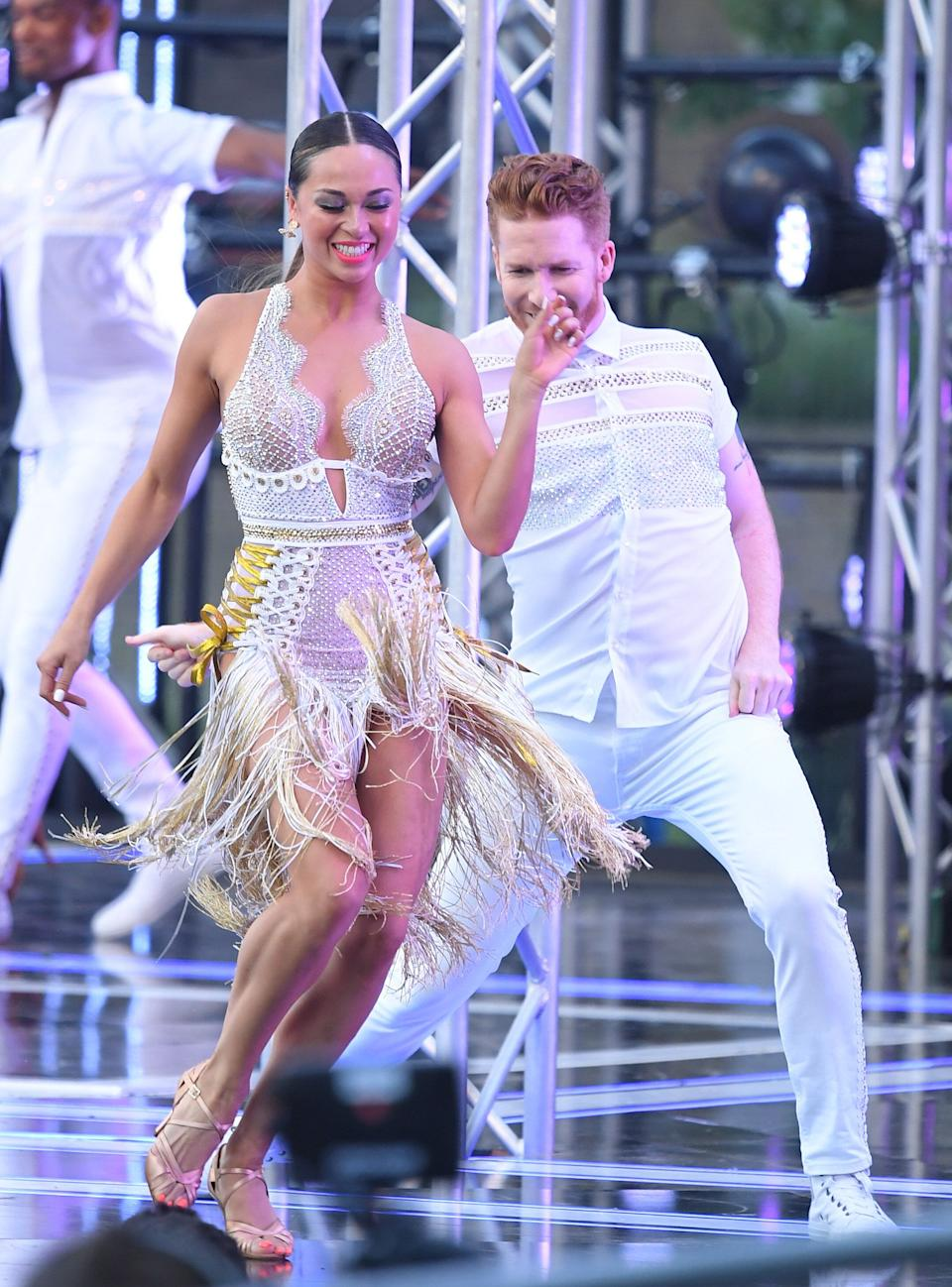 """LONDON, ENGLAND - AUGUST 26: Katya Jones and Neil Jones attend the """"Strictly Come Dancing"""" launch show red carpet arrivals at Television Centre on August 26, 2019 in London, England. (Photo by Karwai Tang/WireImage)"""