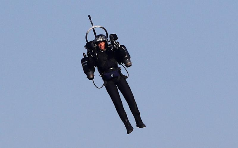 """""""Jetpack Man"""" flies during the 2018 Red Bull Air Race World Championships in Cannes - AFP"""