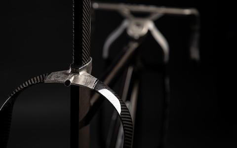 <span>The seat stays on the newly-designed track bike are much wider than most traditional track bikes</span> <span>Credit: JAMES CHEADLE </span>