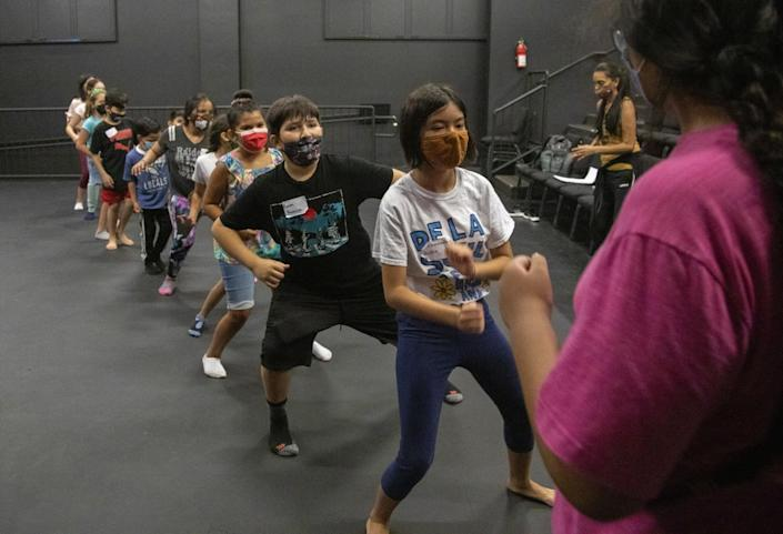 Students rehearse choreography during weekend classes at Casa 0101 in Boyle Heights