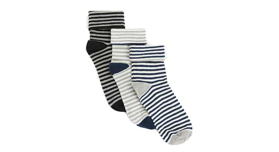 Organic Cotton Rich Turn Over Cuff Stripe Ankle Socks