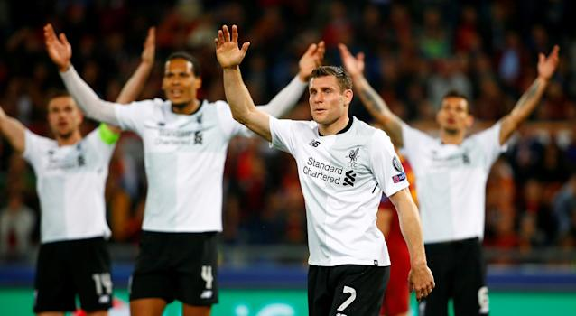 Soccer Football - Champions League Semi Final Second Leg - AS Roma v Liverpool - Stadio Olimpico, Rome, Italy - May 2, 2018 Liverpool's James Milner and team mates react REUTERS/Tony Gentile TPX IMAGES OF THE DAY