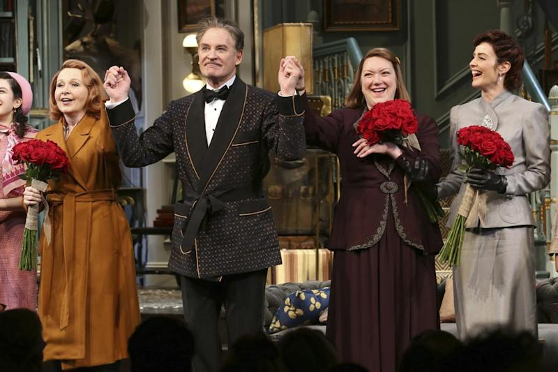 Applause: Kate Burton, from left, Kevin Kline, Kristine Nielsen and Cobie Smulders appear on stage at the opening night curtain call of Present Laughter (Greg Allen/Invision/AP)