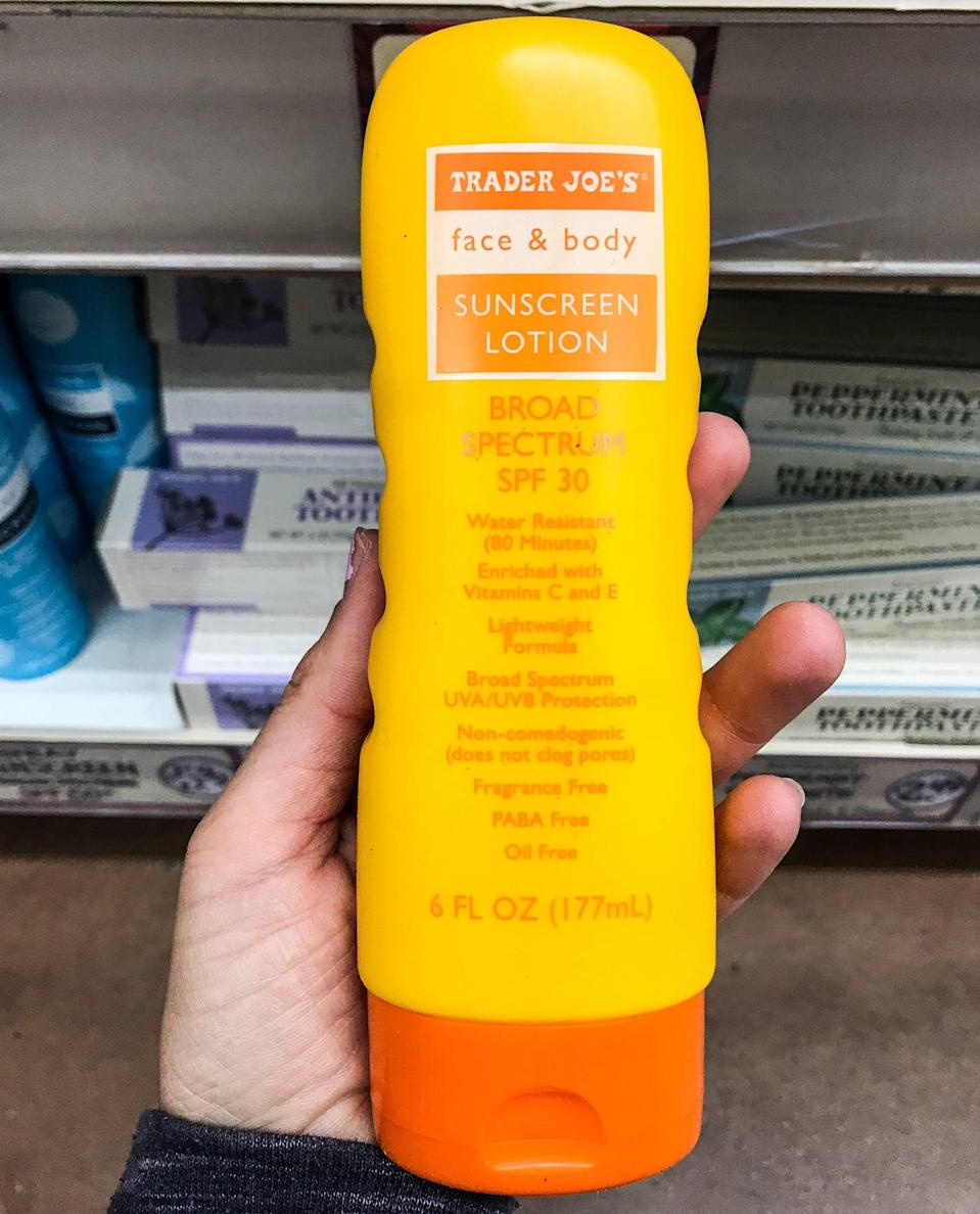 <p>With UV rays threatening to damage skin, TJ's SPF 30 is just what we need. Did we mention it's one of the more affordable sun protection options, too?</p>